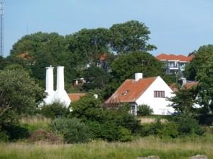 Blick auf die Ferienhäuser von Melsted. In den Gärten findet man Blaubeeren und Schlehen. Und auch Aroniabeeren?