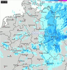 Regenradarbild von wetteronline.de Ostdeutschland
