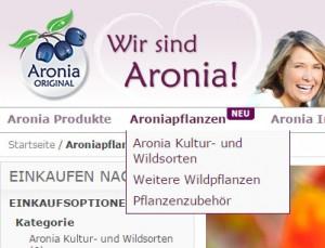 Screenshot Aroniapflanzen-Kategorie auf www.aronia-original.de