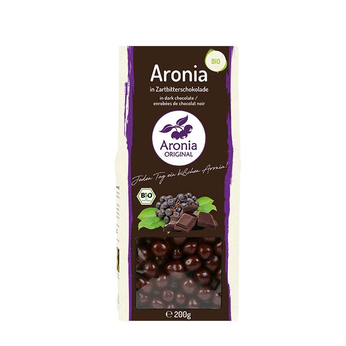 Packshot: Aroniabeeren in Zartbitterschokolade Bio 200 g