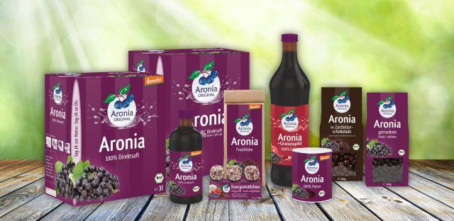 Nach Verpackungsrelaunch neues Design für Aronia Original Produkte