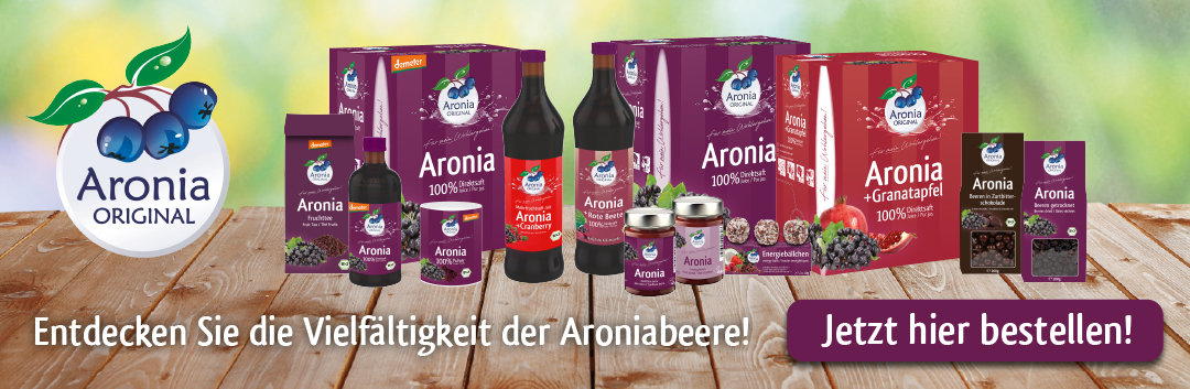 Sortimentsdarstellung Aronia ORIGINAL Produkte. Jetzt hier bestellen!