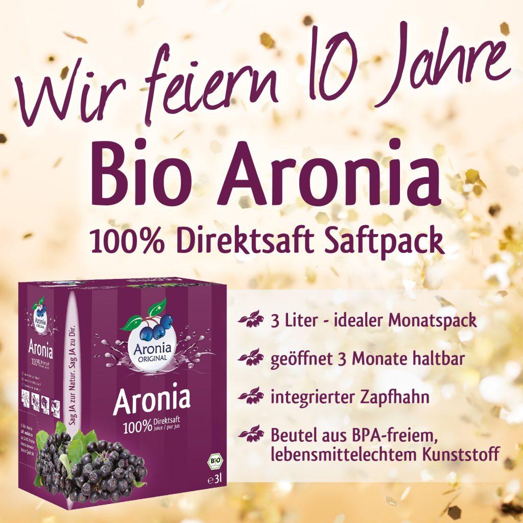 Wir feiern zehn Jahre Aronia im praktischen 3 Liter Saftpack